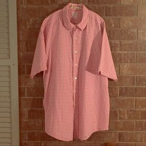 Brooks Brothers pink white checked short sleeve